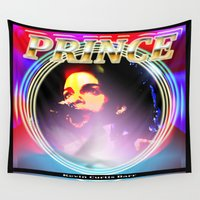 prince Wall Tapestries featuring PRINCE  by KEVIN CURTIS BARR'S ART OF FAMOUS FACES