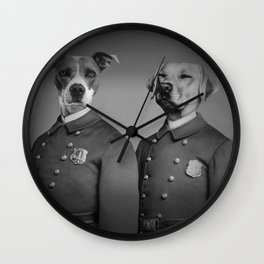 Crime Fighting Pooches Wall Clock