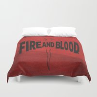 daenerys Duvet Covers featuring House Targaryen - Fire and Blood by Jack Howse