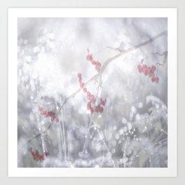 Winter Scene Rowan Berries With Snow And Bokeh #decor #buyart #society6 Art Print