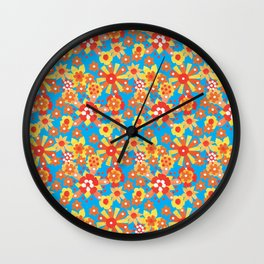 Ditsy Orange Flowers on Blue Wall Clock