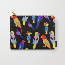 vintage seamless background with Exotic tropical birds paradise parrot, toucan pattern. Carry-All Pouch