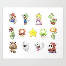 Mario Characters Watercolor Geek Gaming Videogame Art Print