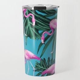 Summer Flamingo Jungle Vibes #2 #tropical #decor #art #society6 Travel Mug