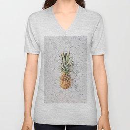Pineapple Marble Background Unisex V-Neck