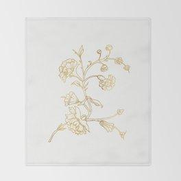 Golden flower on white background . artwork . Throw Blanket