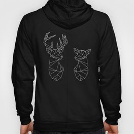 Geometric Stag and Doe (White on Black) Hoody