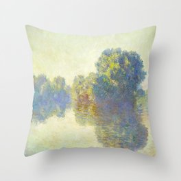 The Seine at Giverny Claude Monet 1897 Impressionist Oil Painting Nature Trees Lake Landscape Throw Pillow