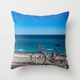 Beach and the bike - Nice, France summer Throw Pillow