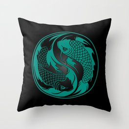 Teal Blue and Black Yin Yang Koi Fish Throw Pillow