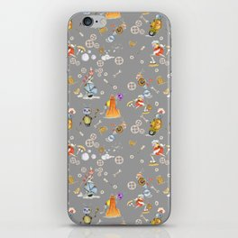 Robots on Gray  iPhone Skin