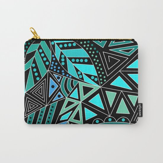Ethnic pattern in blue turquoise tones on a black background . Carry-All Pouch