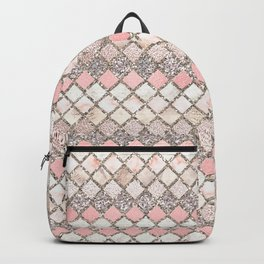 Rose Gold and Marble Decorative Square Tile Pattern Backpack