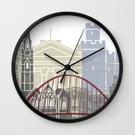 Newcastle skyline poster Wall Clock