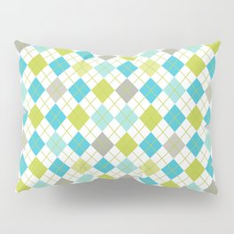 Retro 1980s Argyle Geometric Pattern in Modern Bright Colors Blue Green and Gray Pillow Sham