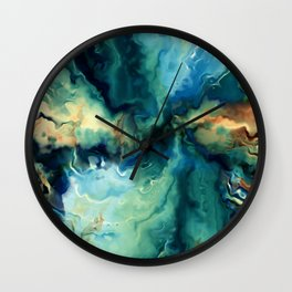 Abstract Blue Oil Painting Fractal Wall Clock
