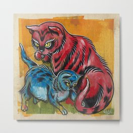 Blue and Red Cats Metal Print
