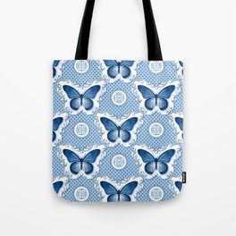 Chinoiseries Porcelain Butterfly Blue Tote Bag