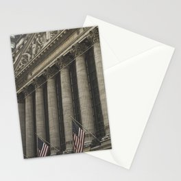 New York, Wall Street, stock exchange building, US flag, I love NY Stationery Cards