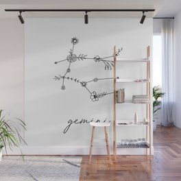 Gemini Floral Zodiac Constellation Wall Mural