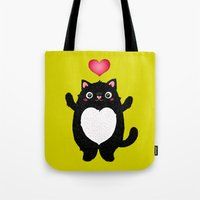 fat Tote Bags featuring Fat Cat by Anna Alekseeva kostolom3000