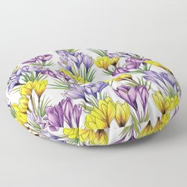 Purple & Yellow Crocus Pattern - Colorful Flowers For Spring Floor Pillow