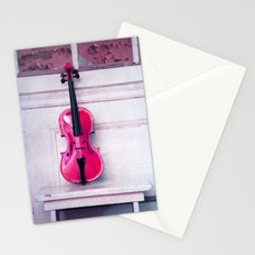 pink violin Stationery Cards