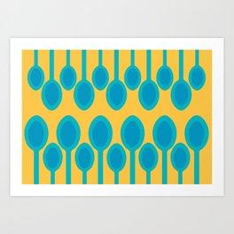 Blue spoons field Art Print
