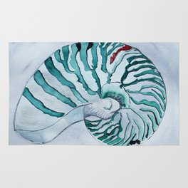 Turquoise Nautilus Shell painting watercolor Rug