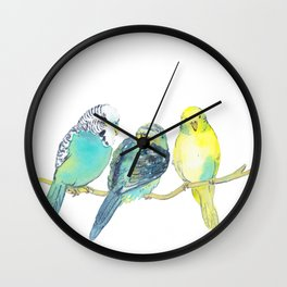 budgie family watercolor Wall Clock