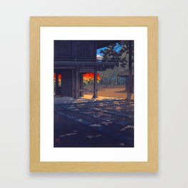 Vintage Japanese Woodblock Print Colorful Fall Trees Shinto Shrine Japanese Architecture Framed Art Print