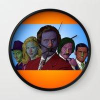 anchorman Wall Clocks featuring Anchorman by CultureCloth