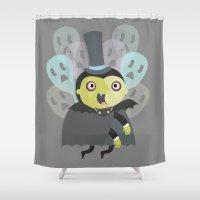 vampire Shower Curtains featuring VAMPIRE by jake pruim