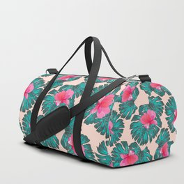 Artsy Tropical Green Teal Monster Leaves Pink Floral Duffle Bag