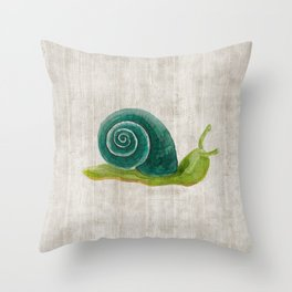 Little Snail, Snips and Snails, Little Boys, Bugs and Slugs Art, Woodland Throw Pillow