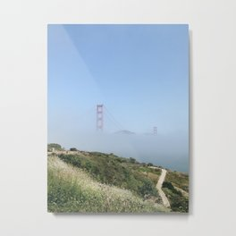 Golden Gate through the Fog Metal Print