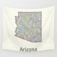 arizona Wall Tapestries featuring Arizona map by David Zydd