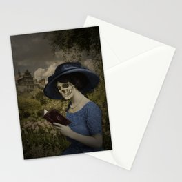 Skull woman reading a book Stationery Cards