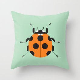 Lady Bug Green Throw Pillow