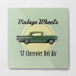 Vintage Wheels - '57 Chevrolet Bel Air Metal Print