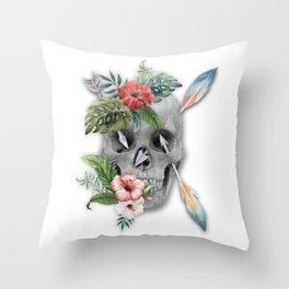 Caribbean Pirate Skull Feather Arrows Tropical Flowers Throw Pillow