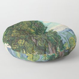 Cypresses by Vincent van Gogh Floor Pillow