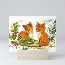 Cute Vintage Christmas Foxes Mini Art Print