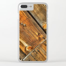 Wood Grain Pattern on Weathered Wooden Boards Clear iPhone Case