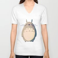 nan lawson V-neck T-shirts featuring My Neighbor by Nan Lawson