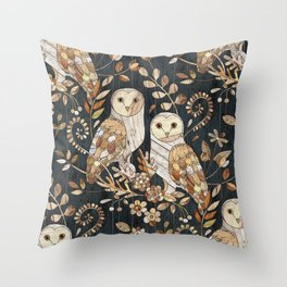 Wooden Wonderland Barn Owl Collage Throw Pillow
