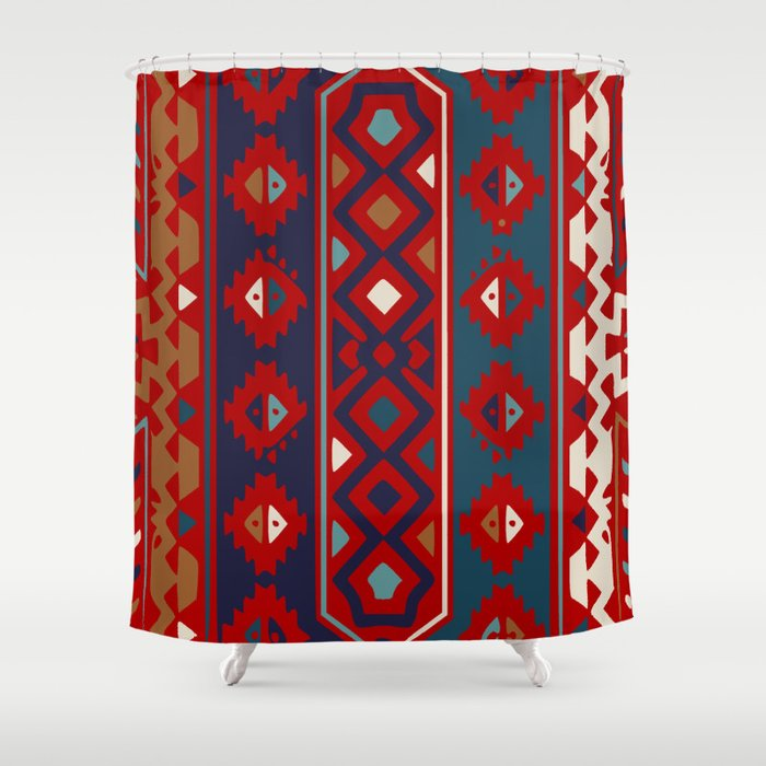 Red Blues Cream Aztec Shower Curtain