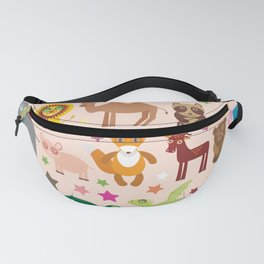 Set of funny cartoon animals character on pink seamless background. zoo. Vector Fanny Pack