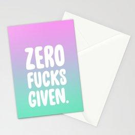 Zero Fucks Given. Stationery Cards