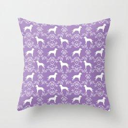 Dalmatian dog breed silhouette florals dog art dalmatians pure breed Throw Pillow